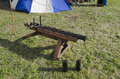 Old piece of artillery in historical re-enactment Royalty Free Stock Photo