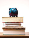 Old piggy bank on books Royalty Free Stock Photo