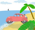 Old pink car on the beach. Royalty Free Stock Photo