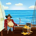 Old pirate with one leg and hook and saber, guards treasure chest on ship deck, vector, , cartoon style