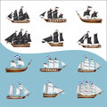 Old pirate ships set of Royalty Free Stock Photography