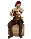 Old pirate sitting on a barrel with bandana and eyepatch d digitally rendered illustration Stock Photos