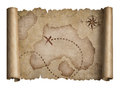Old pirates treasure scroll with torn edges map isolated Royalty Free Stock Photo
