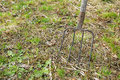 Old pitchfork outside Royalty Free Stock Photo