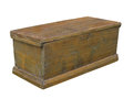 Old plain rustic wooden chest isolated.