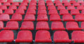 The old plastic seats in an abandoned stadium Royalty Free Stock Photo