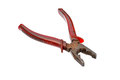 The old pliers combination cutting on white background Royalty Free Stock Photo