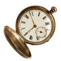 Old Pocket Watch Isolated on White Royalty Free Stock Photos