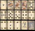 Old Poker Playing Cards - Clubs Royalty Free Stock Photo