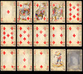 Old Poker Playing Cards - Diamonds Royalty Free Stock Photo
