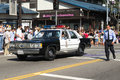 Old police car at th annual nisei week grand parade los angeles august august in downtown los angeles ca Royalty Free Stock Image