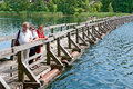 Old pontoon bridge Stock Image