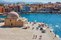 Chania old harbor or port waterfront in Crete, Greece