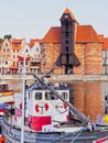 Old port crane in gdansk poland gate the harbour of Royalty Free Stock Photography
