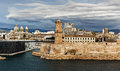 Old port and Fort Saint Jean in Marseille, France Royalty Free Stock Photo