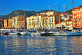 Old port of Nice on sunset.