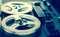 Old portable reel tube tape-recorder Royalty Free Stock Photo