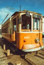 Old porto streetcar the in the street Stock Image