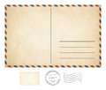 Old post card and stamp collection Royalty Free Stock Photo
