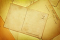 Old postacards blank yellowed sepia postcards Royalty Free Stock Photo