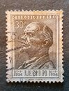 an old postage stamp from Czechoslovakia 1954 with the image of V.I. Lenin Royalty Free Stock Photo