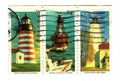 Old postage stamps from USA with Lighthouses Royalty Free Stock Photo