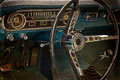 Old postcard with driver's cockpit of a vintage classic car 2 Royalty Free Stock Photo