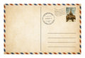 Old postcard or envelope with postage stamp isolat Royalty Free Stock Photo