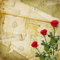 Old Postcard with envelopes and rose Royalty Free Stock Photo