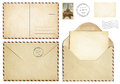 Old postcard mail envelope open letter stamp collection isolated on white Stock Image