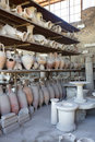 Old pots in outside collection at pompei, pompeii, italy Stock Photo