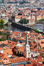 Old Prague and Charles bridge from above Stock Photography