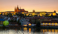 Old prague from charles bridge ar sunset vltava river castle and the at Stock Image