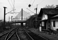 Old prague train station under the bridge view on railstation in bw Stock Image