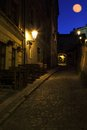 In the old prague under castle steps and moon Royalty Free Stock Photo