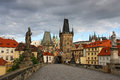 Old prague view from charles bridge early in the morning Royalty Free Stock Photography