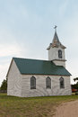 An old prairie church with faded paint and a rusty steeple in south dakota Royalty Free Stock Images