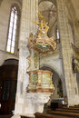 Old preaching pedestal in St. James´s church in Kutná hora Royalty Free Stock Photo