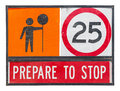Old prepare to stop traffic sign Stock Photo