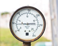 Old pressure gauge indicator isolated Stock Photo