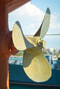 Old propeller close up view of an painted Stock Photos