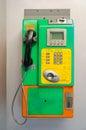 Old public phone an at thailand closeup Stock Photo