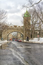 Old quebec scene of a gate to city in the winter time Royalty Free Stock Photo