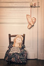Old rag doll and pointe dance shoes Royalty Free Stock Photo