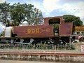 An old rail engine in a station in india Stock Photo