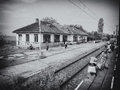 Old rail station black and white image with radomiresti who is a local in olt county Stock Photos