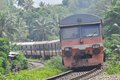 Old rail tacks in srilanka train runing on main line hunupitiya on s Stock Photo