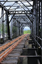 Old rail way bridge, Rail way construction in the country, Journey way for travel by train to any where. Royalty Free Stock Photo