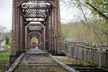 Old railroad bridge a very now closed showing the path the trains would have taken when was being used Royalty Free Stock Images