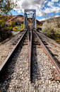 Old railroad bridge a year steel and derail guard Royalty Free Stock Image